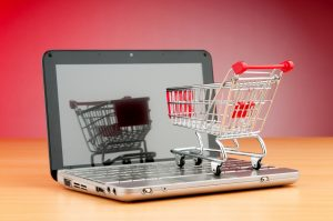 shopping online with stock image